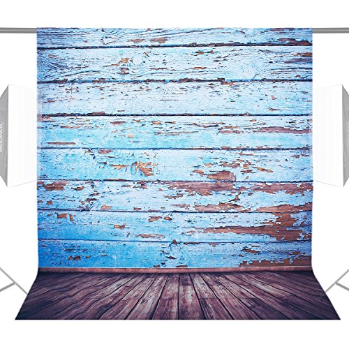 Neewer 5x7ft/150x210cm 100% Polyester Wooden Floor Backdrop Background Photography Studio Video Shooting (Backdrop Only)-Blue