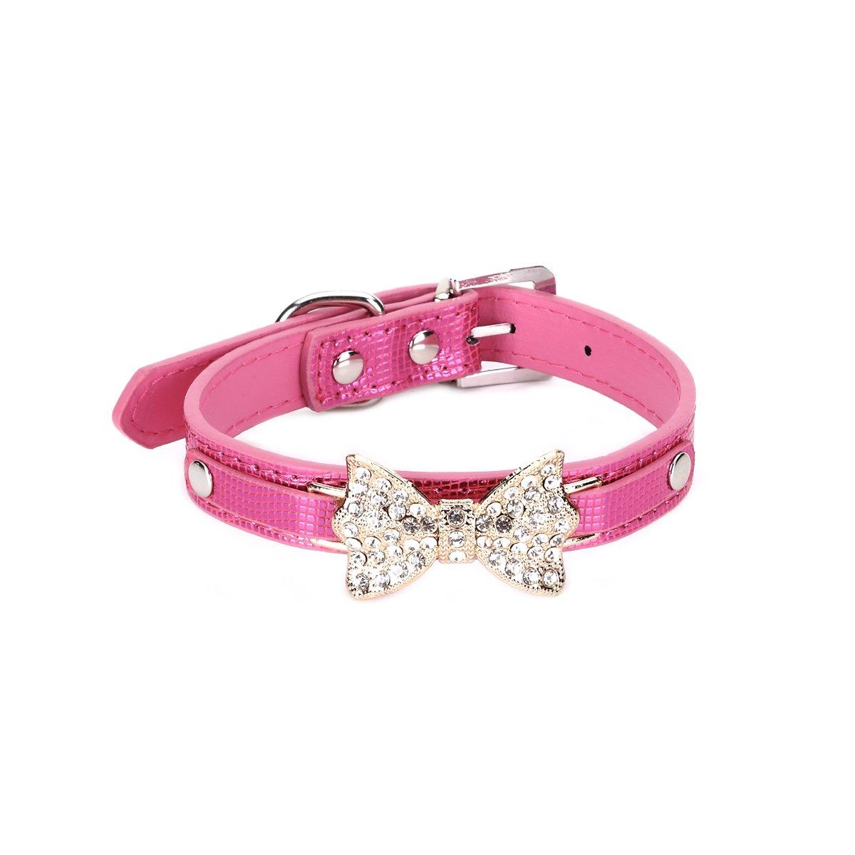 Pet tag collare Bling cristallo Bowknot coccodrillo modello collare cucciolo gatto girocollo collana