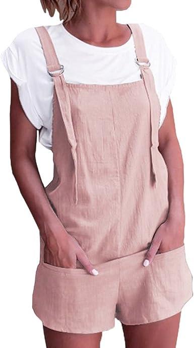 HCFKJ Monos Mujer Verano Mujeres Peto De Cintura EláStica Bolsos De AlgodóN De Lino Mamelucos Mono Corto Pantalones: Amazon.es: Ropa y accesorios