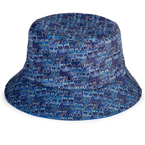 Laurel Burch Indigo Cats Print Reversible Bucket Hat