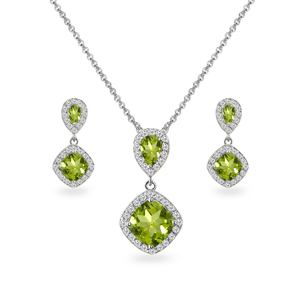 Sterling Silver Peridot & White Topaz Dangle Earrings & Necklace Set