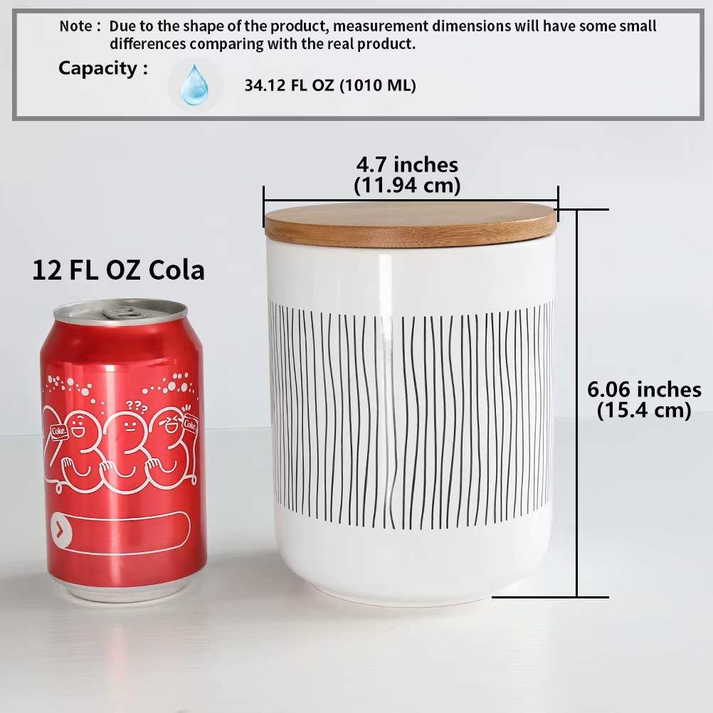 77L Tarro de almacenamiento de alimentos 580 ML 19.59 FL OZ Almacenamiento de cocinacon Tapa de Bamb/ú /& Anillo de Sellado de Silicona para servir t/é caf/é y m/ás cer/ámica Olla a Rayas Conjunto