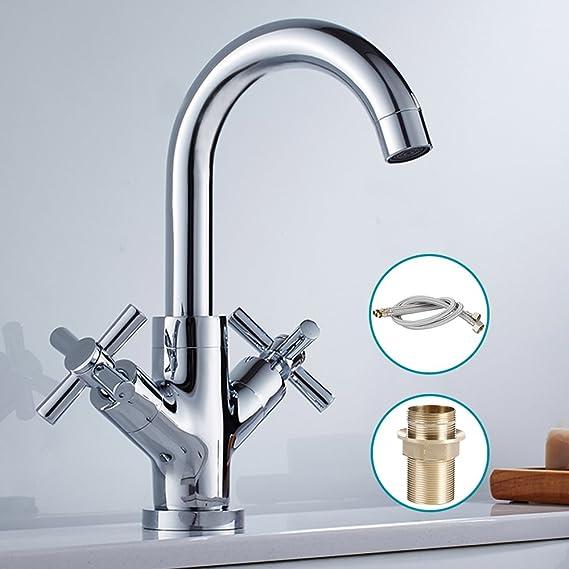 Kitchen Sink Mixer Taps Monobloc Swivel Spout Twin Lever Cross Knobs ...