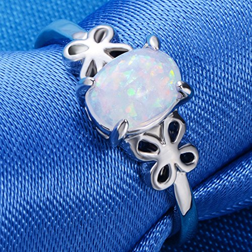Exquisite Womens Silver Ring Oval Cut Fire Opal Butterfly Rings Engagement Wedding Band Fashion Jewelry Gift By Balakie(Sliver,6#) by Balakie Ring (Image #1)