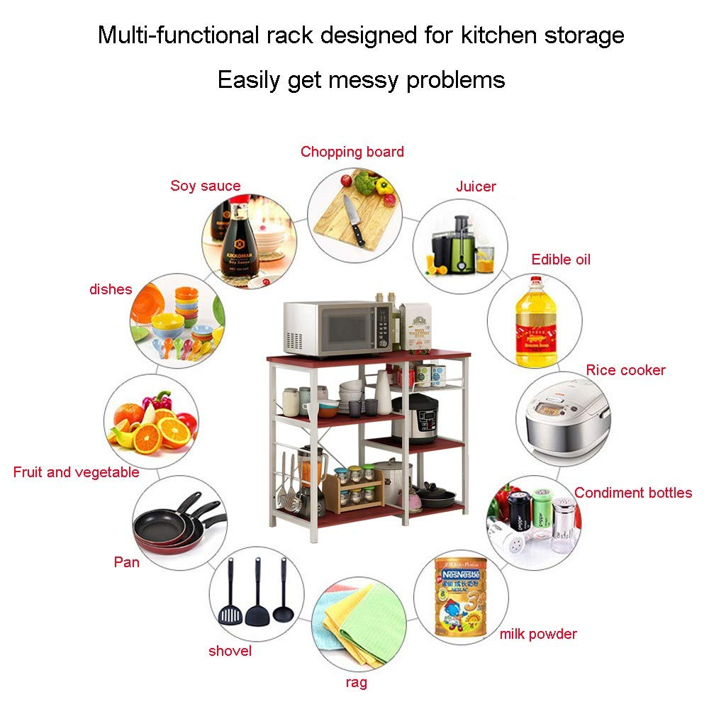 3-Tier Baker's Rack, Microwave Cart Oven Stand with 3 Hanging Hooks & Spice Rack for Kitchen Storage, Steel Plate Type, Wine Amiley 【Ship from USA】 (Wine) by Amiley Kitchen Rack (Image #2)