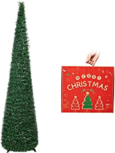 N&T NIETING Christmas Tree, 5ft Collapsible Pop Up Dark Green Tinsel Christmas Tree Coastal Christmas Tree for Holiday Decorations, Home Display, Office Decor