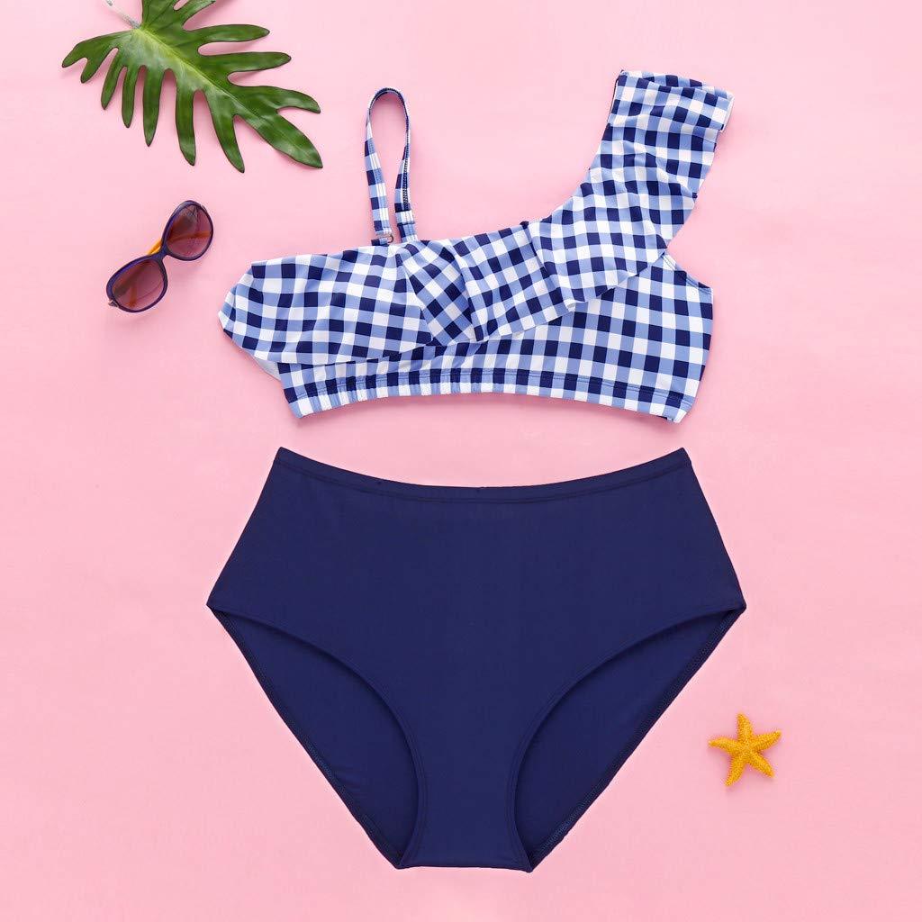 Mimfor Women High Waist Swimwear Print Sling Ruffle Swimsuit Push Up Padded Bikini
