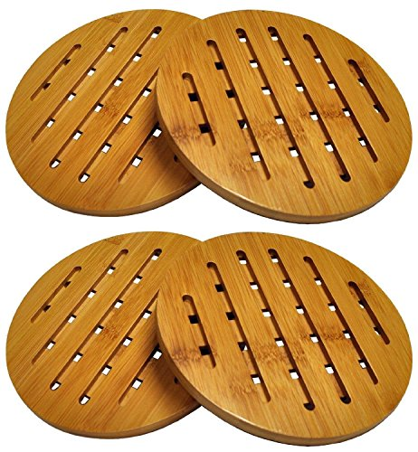 Collection Trivet - HealthPro Organic Moso Bamboo Collection Heavy Duty Trivet Set (4)