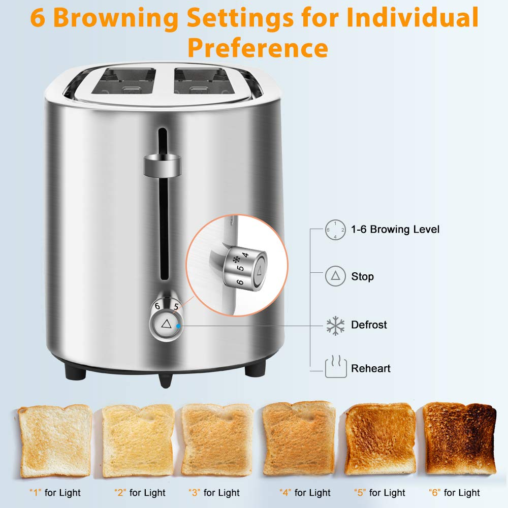 Frost Silver Removable Crumb Tray Extra Baking Rack 2 Slice Toaster- Stainless Steel Toaster with 6-Shade Control,Pop Up Reheat Defrost Cancel Function Cool Touch Compact Bread Toasters for Bagel/& Bread