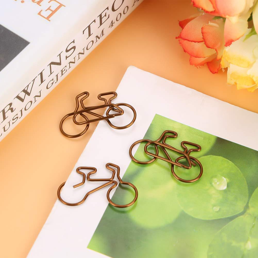 HEEPDD 20 Pezzi Graffette in Metallo a Forma di Bicicletta Colore del caff/è segnalibro Clip per lorganizzazione del documento Clip per cancelleria Scuola Ufficio