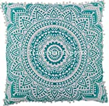 Euro Sham Pillow Cover with Pom Pom Lace Decorative Floor Cushion 26'' Ethnic Cotton Mandala Cushion Cover (Pattern 1)