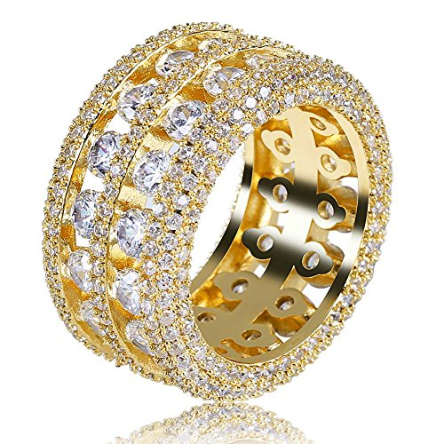 TOPGRILLZ 18K Gold Plated 2 Row Pave Simulated Lab Diamond CZ Bling Eternity Wedding Statement Round Cut Ring Hip Hop Jewelry (Gold, 9) ()