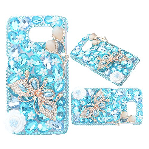 Spritech(TM) 3D Handmade Bling Crystal Butterfly with Shiny Sparkle Rhinestone and Flowers PC Case Luxury Full Diamond Design Clear Cover Hard Caver Case for Samsung Galaxy S5 Mini