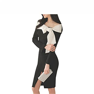 AIOPPOO Fashion Korean Bow Black Party Dresses Womens Vintage Slim Autumn Work Tunic Bodycon Sheath Casual