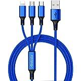 Micro usbケーブル 充電ケーブル 3in1 ケーブル ライトニングケーブル USB Type-C マイクロusb充電ケーブル