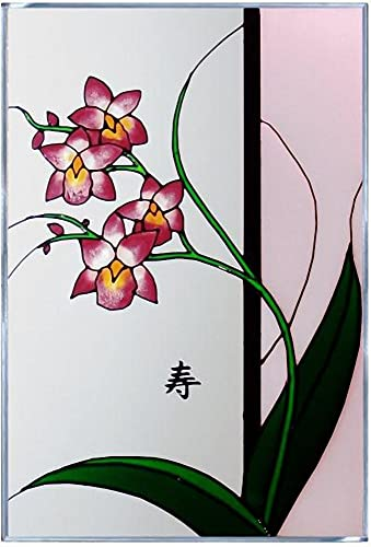 Flowers Asian Orchid Long Life 14 Wide x 20.5 High Hand Painted Art Glass Panel