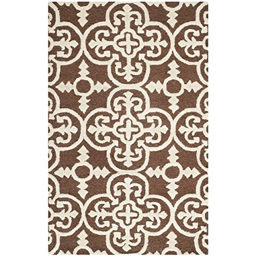 Safavieh Cambridge Collection CAM133H Handcrafted Moroccan Geometric Dark Brown and Ivory Premium Wool Area Rug (2' x 3') - Dark Brown Wool Rug