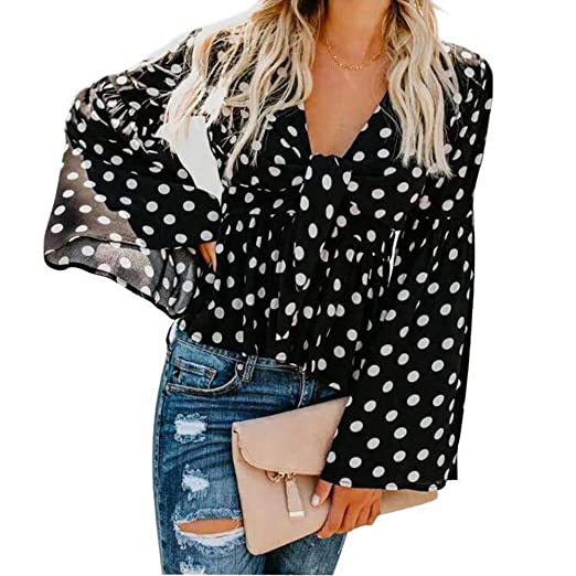 a04356cbaec63c Fashion Polka Dots Tops for Women V-Neck Pagoda Sleeve Shirt Point Blouse