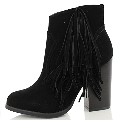 6e30dd66bd65c Mark and Maddux Women's Joseph Faux Suede Cowboy Fringe Stacked Heels Ankle  Booties, Black IMSU, 10 M US