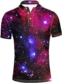 HUGS IDEA Galaxy Star Stylish Men's Slim Fit Short Sleeves Polos Shirt T-Shirt Tee Tops