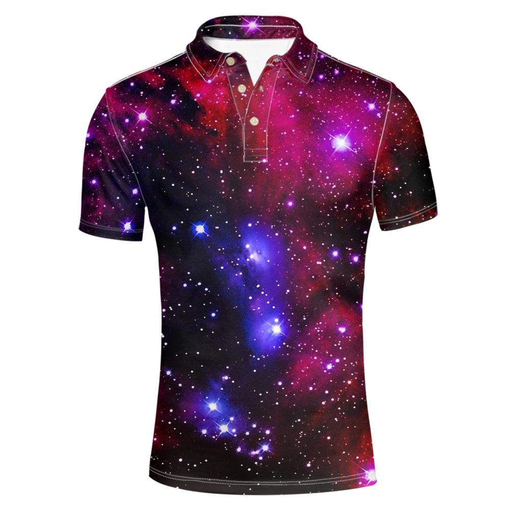 HUGSIDEA Galaxy Star Stylish Men's Slim Fit Short Sleeves Polo Shirt T-shirt Tee Tops HUGS IDEA Y-CA518CS6