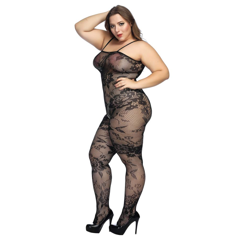 0edbd2413 Ciimii Crotchless Bodystocking Plus Size Open Crotch Lingerie (Black)   Amazon.co.uk  Clothing