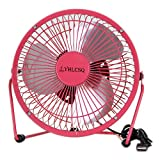 YHLCSQ 4 inch USB Fan Mini Desktop Metal Blades Cooling Fan with 360 Degree Rotation and Adjustable Angle for Laptop Notebook Tablet PC (6 inch Pink)