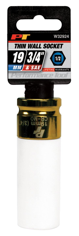 Performance Tool W32902 5-piece 1//2 inch Impact Drive Thin Wall Impact Sockets