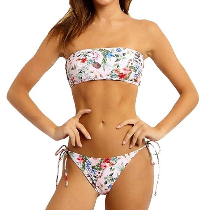592f7b2990 Poachers Traje de baño Mujer Dos Piezas Boho Playa Bañador Verano Bikini  Push Up Gran tamaño