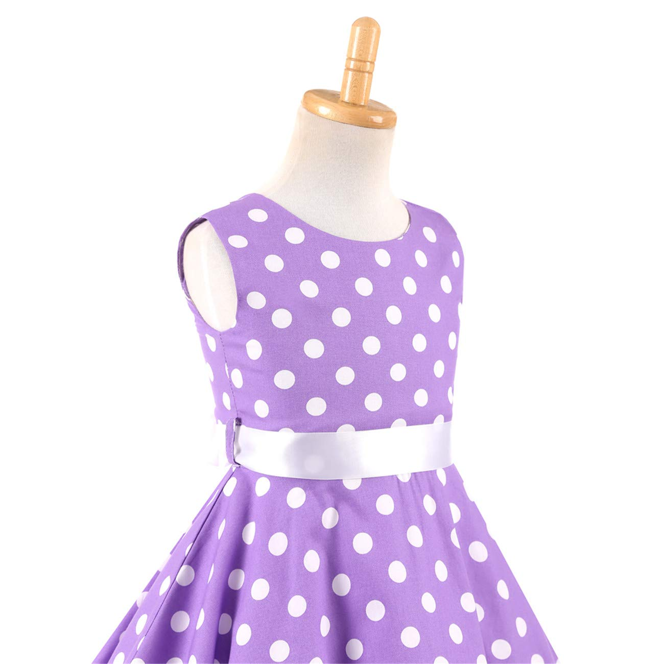 Girls Sleeveless Summer Swing Casual Clothes Vintage Floral Print Polka Dot Dress for 4-12Years