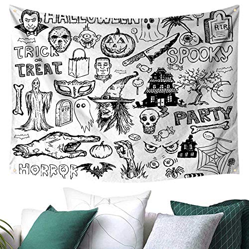 (WilliamsDecor Vintage Halloween Wall Tapestry Hanging Hand Drawn Halloween Doodle Trick or Treat Party Severed Hand Design Picnic/Beach Blanket/Throw/Sheet 91W x 60L Inch Black)
