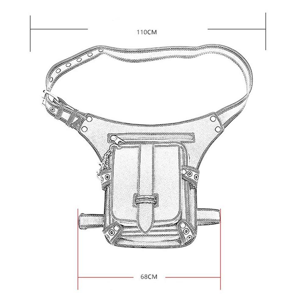 GKPLY Retro Adjustable Waist Sling Bag Shoulder Bag Mens and Womens Leather Multifunction PU Waist Bag Hiking Camping Riding Belt Waist Bag Messenger Bag