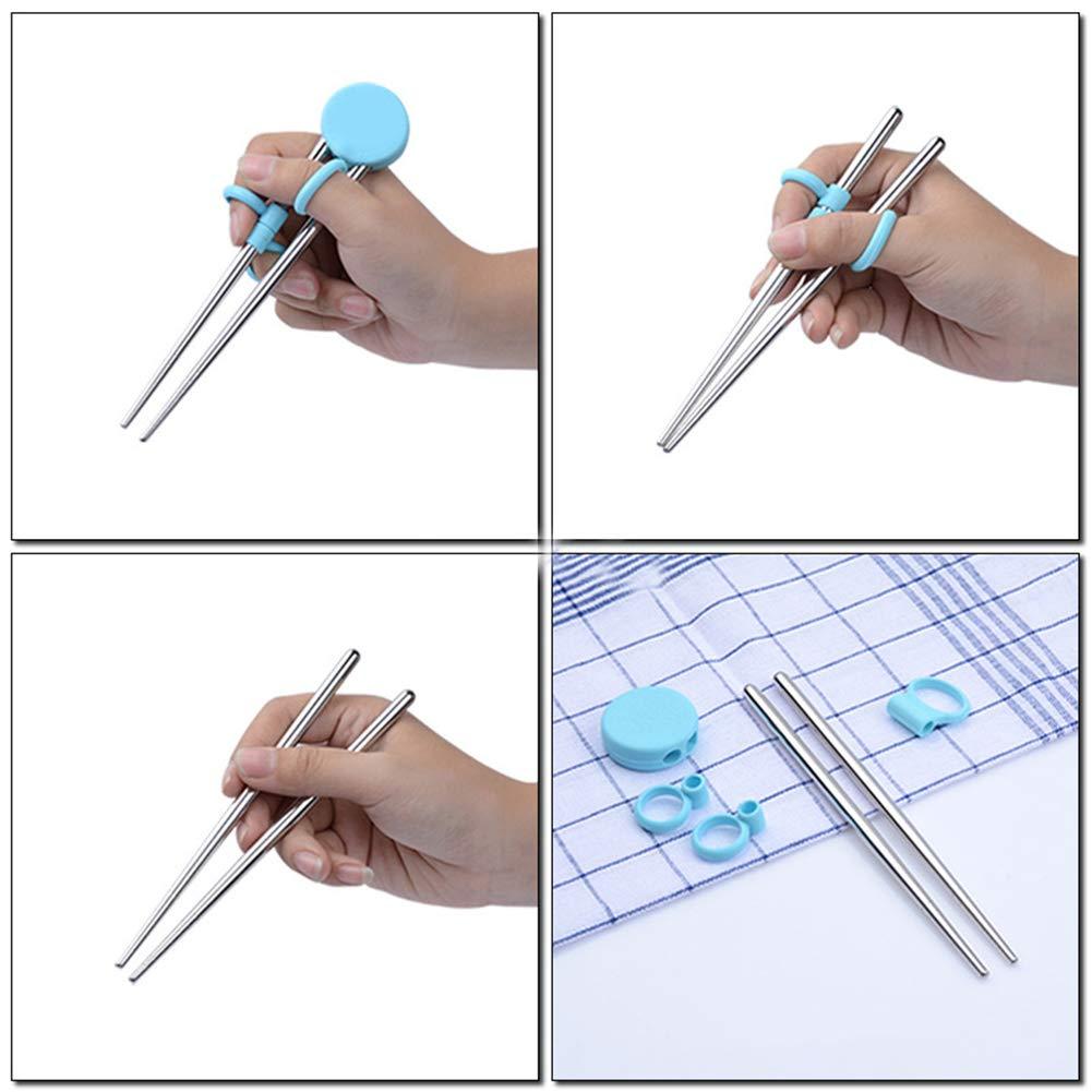 Nuohuilekeji Stainless Steel Training Chopsticks Helper con Anello in Silicone per Bambini Principianti Blue