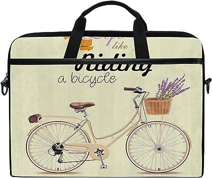 LOSNINA 15-15.6 Inch Bolsa de Ordenador,Ilustración de Bicicleta ...