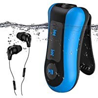 AGPTEK Clip 8GB IPX8 Waterproof MP3 Player with Waterproof Headphone for Swimming, Running Sports, S12, Blue