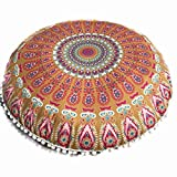 Large Round Ottoman for Sale Clearance Sale,KIKOY Large Mandala Floor Pillows Round Bohemian Meditation Cushion Cover Ottoman Pouf (Multicolor B)