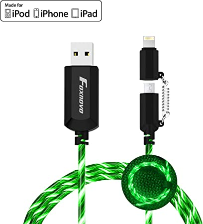 ipad air 2 ipad Mini 2 iPod Nano 7 and More,Visible Flowing Charger Cable 10ft iPhone Charging Cord Lighted Charger Cable for iPhone X//8//7//6 Blue+Red iPad pro LED iPhone Charger Cable