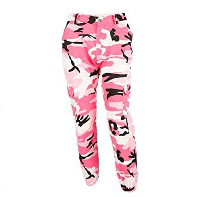 875b78242f Tsmile Women Pants Autumn Fashion Sports Camo Cargo Pants Outdoor Casual  Camouflage Trousers Jeans (Pink
