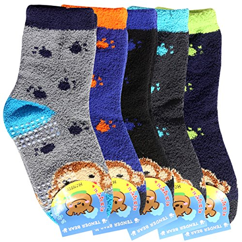 Fuzzy Socks for Kids - Premium Soft Warm Microfiber Winter Socks 5 Pairs - Anti Skid Socks (5-7 Years, Monkey (Microfiber Kids Socks)