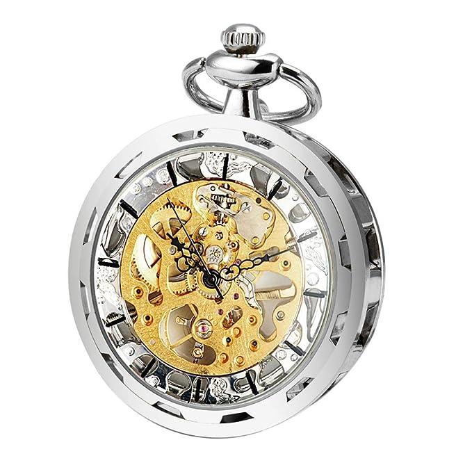 0b642bf130c6 ManChDa Hombres Transparente Abierto de la Cara Reloj de Bolsillo Plata  Esfera Esqueleto con Cadena + Caja de Regalo  Amazon.es  Relojes