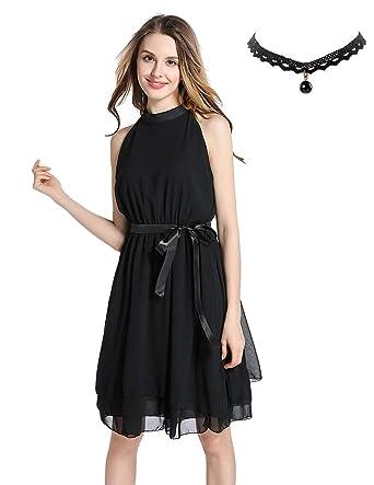 Semia Womens Summer Party Cocktail Mini Dress Elegant Sleeveless Chiffon Skater Casual Dresses Black S