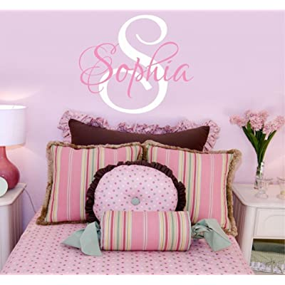 "Girls Nursery Personalized Custom Name Wall Decals, Baby Wall Stickers for Girls, 23"" W by 20"" H, Girl Name Wall Decal, Wall Decor, Girls Nursery Wall Decals, Girls Bedroom, PLUS FREE HELLO DOOR DECAL: Baby"