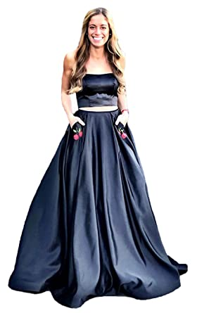 Graceprom Womens Yellow Two Pieces Prom Dress Long Evening Party Dress with Pockets 2
