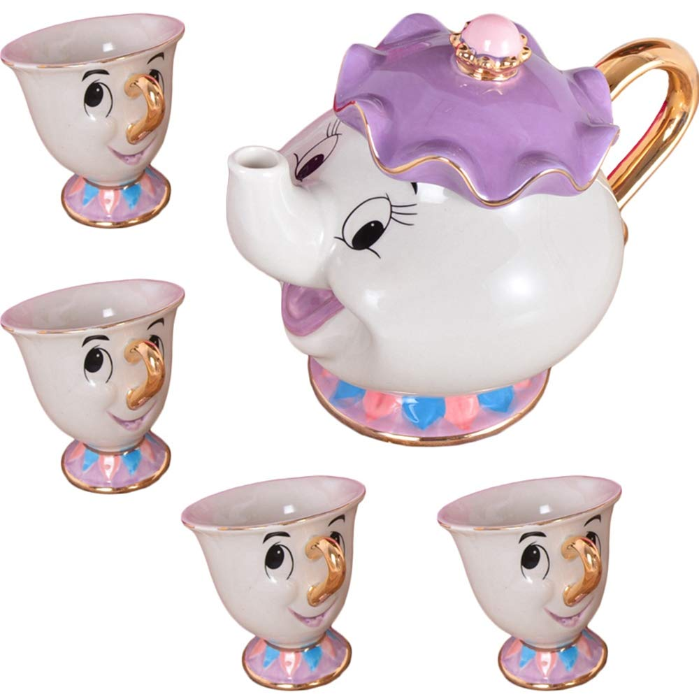 Cartoon Beauty And The Beast Teaset Mrs Potts Chip Tea Pot Cup Set Porcelain 18K Gold-plated Painted Ceramic Coffee set