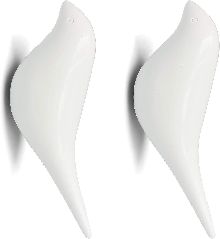 NIKKY HOME Soporte de Colgador de Gancho de Montaje en Pared de Resina Multiusos en diseño de pájaros para Abrigo Sombrero Toalla Bolsa 2 Pack Blanco