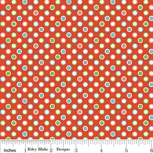 Riley Blake Wheels 2 Flannel Dot Red Fabric By The Yard