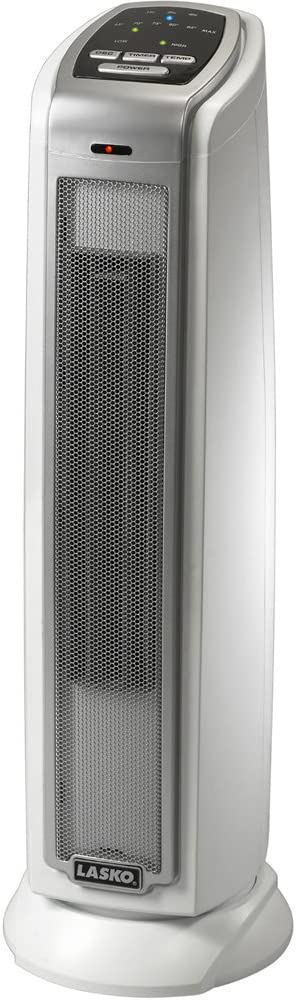 best bathroom heater: Lasko 5775 Electric 1500W Ceramic Space Heater Tower with Thermostat and Auto-Off Timer for Bedroom and Indoor Home Office Use, White