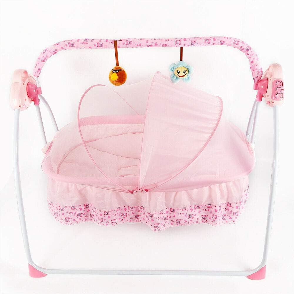 Rosa Cuna el/éctrica para beb/és Columpio de la Cuna 0-2 Edades Edad Baby Cuna mecedora plegable
