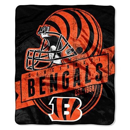 The Northwest Company Officially Licensed NFL Cincinnati Bengals Grand Stand Plush Raschel Throw Blanket, 50