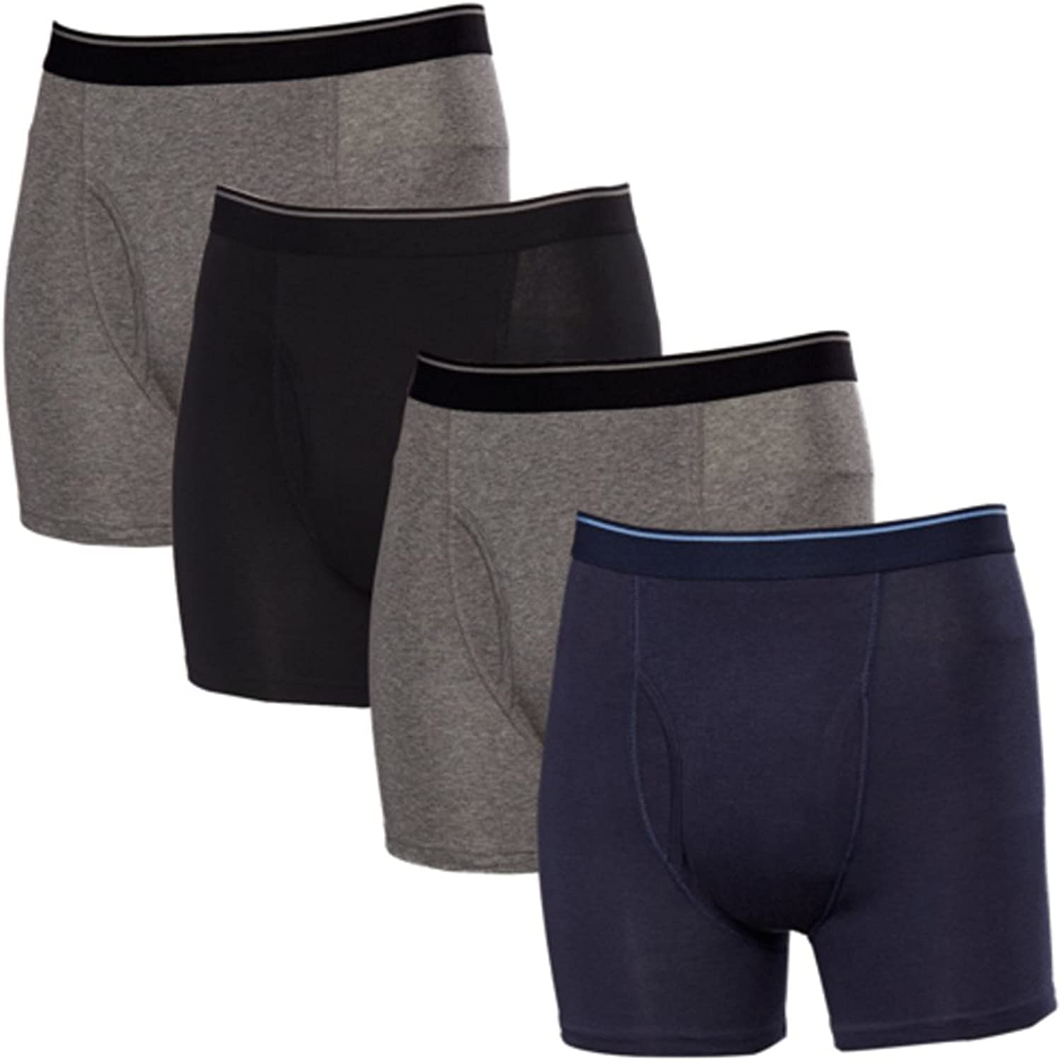 Kirkland Signature Men's Boxer Brief Pima Cotton 4 Pack (X-Large, Assorted)